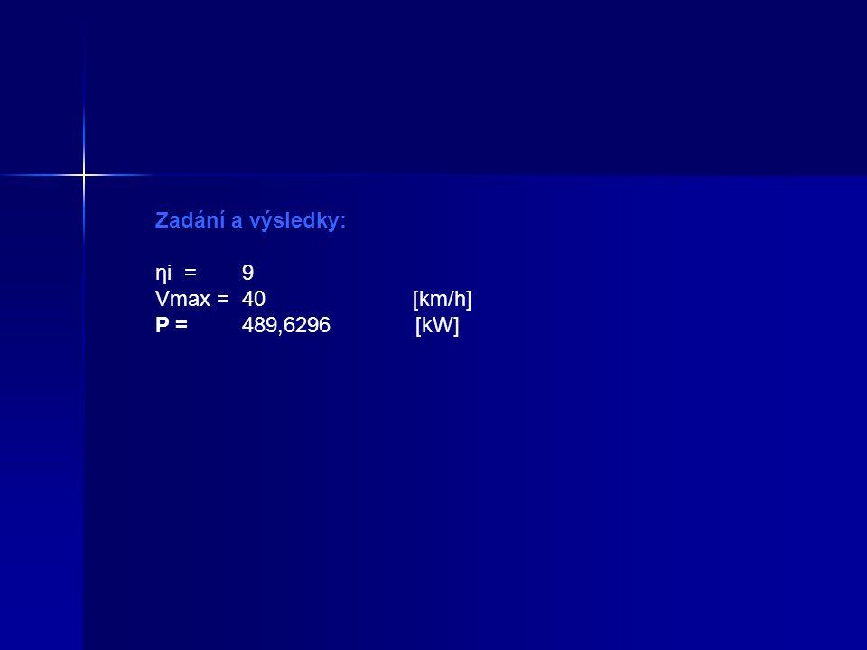 Zadání a výsledky: ηi = 9 Vmax = 40 [km/h] P = 489,6296 [kW]